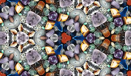 kaleidoscop: HD seamless texture, kaleidoscope effect on glittering stones Stock Photo