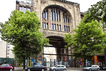 former years: Portal detail of Kunsthaus Tacheles in Berlin,former art center, now closed. It was a Nazi prison during WWII. Built in early modern architecture in 1907-1908 years Editorial