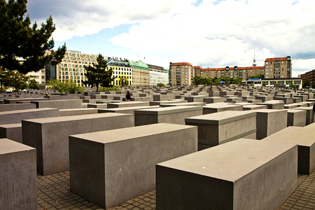 murdered: Berlin, The Memorial to the Murdered Jews of Europe designed by Peter Eisenman and Buro Happold in 2003, made of 2711 concrete slabs resembling a cemetery. Visitors can walk in the structure.