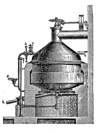 century: 19th century industrial illustration: beer production, pressure cooking pot
