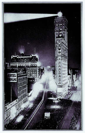 old new york: Old illustration: New York panorama by night with the Flatiron building