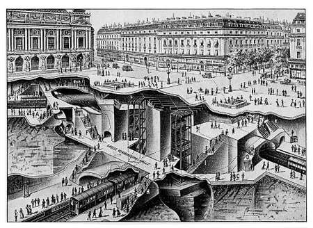 citylife: Impressive map of the Paris metro under Palais Garnier, the Opera house. The metro was opened to the public in 1900