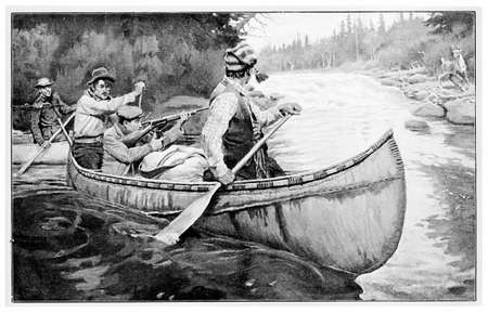 novel: Illustration for an adventure novel describing hunting and canoeing in the wilderness