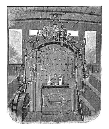 boiler: Antique illustration train interior: steam locomotive boiler