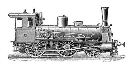 19th: 19th century illustration: Prussian steam locomotive used to transport passengers