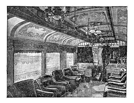 interiors: Antique illustration luxury and decor of train wagon interiors leading to more comfort during travelling Stock Photo