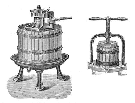 century: 19th century illustration: making wine, industrial machine to press grapes.