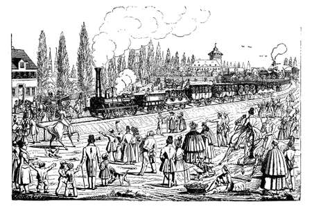 Nuernberg-Fuerth: steam locomotive and train passage inauguration, 1835