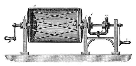 century: 19th century illustration: industrial machine to prepare dough for bread and bakery