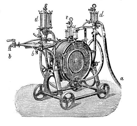 filtering: 19th century illustration; mechanical process for beer filtering to remove all sediments flowing the beer through layers of filter material Stock Photo