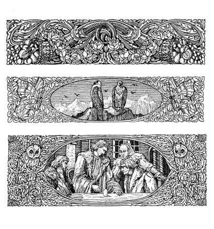 secession: Three beautiful vintage art deco borders  with floral elements,egg of Columbus representation, two eagles on a peak, all framed by iper decorated flourishes encasing butterflies and owls Stock Photo