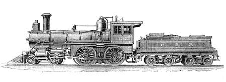 19th century illustration: American steam locomotive with coal trailer to transport passengers
