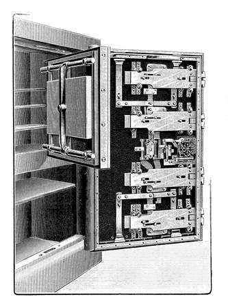 bank deposit: A opened bank deposit safe showing a complicated security mechanism