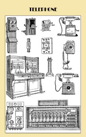 vintage telephone: Vintage telephone, communication equipments and accessories