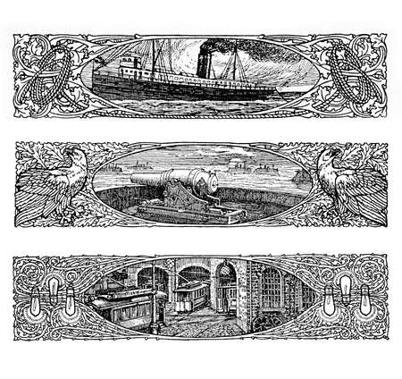ocean liner: Three beautiful vintage art deco borders  with an old ocean liner, gun on turrett, urban view with tramways, all framed by iper decorated flourishes encasing eagles, lamps and ropes.