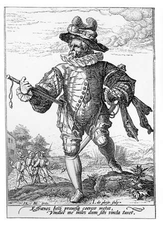 sentry: 1600, illustration depicting a guard with sword of Rudolf II of Habsburg, Holy Roman Emperor, King of Bohemia and Archduke of Austria