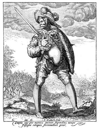 archduke: 1600, illustration depicting a guard with sword and buckler of Rudolf II of Habsburg, Holy Roman Emperor, King of Bohemia and Archduke of Austria