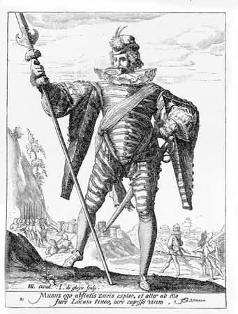 sentry: 1600, illustration depicting a guard with spear and sword of Rudolf II of Habsburg, Holy Roman Emperor, King of Bohemia and Archduke of Austria