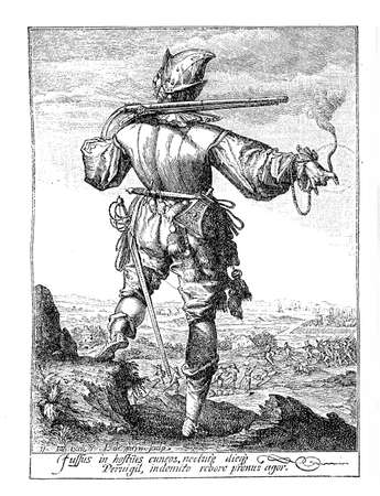 holy roman emperor: 1600, illustration depicting a guard with helm, armor, spear, sword and archebus of Rudolf II of Habsburg, Holy Roman Emperor, King of Bohemia and Archduke of Austria Stock Photo