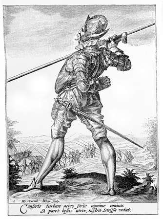 habsburg: 1600, illustration depicting a guard with helm, armor,spear and sword of Rudolf II of Habsburg, Holy Roman Emperor, King of Bohemia and Archduke of Austria