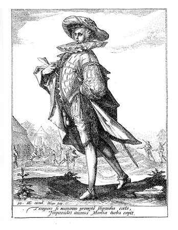 16th century: 1600, illustration depicting a guard with sword of Rudolf II of Habsburg, Holy Roman Emperor, King of Bohemia and Archduke of Austria