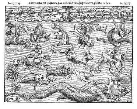 middle age: 1550 ca., middle age illustrated description of marine monsters of many forms, including sea dragons and sea serpents Stock Photo