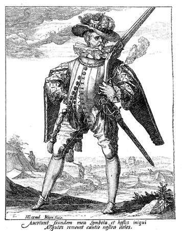 habsburg: 1600, illustration depicting a guard with sword and archebus of Rudolf II of Habsburg, Holy Roman Emperor, King of Bohemia and Archduke of Austria