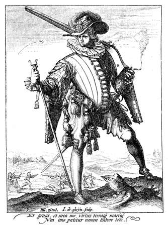 sentry: 1600, illustration depicting a guard with sword and archebus of Rudolf II of Habsburg, Holy Roman Emperor, King of Bohemia and Archduke of Austria