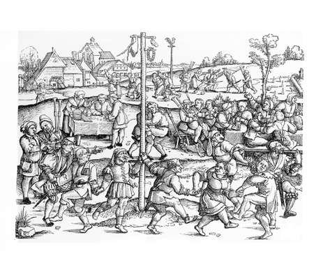 Middle ages peasant celebrate several festivals at harvest time and during the year, related to religion and nature.