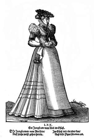 16th century: Nurenberg, year 1577 - Lady dress (Tracht) from a fashion book