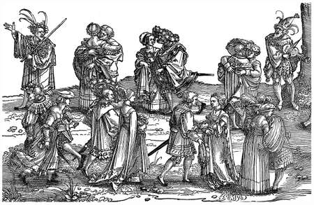 richly: Antique engraving of couples dancing in richly decorated vests