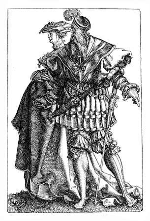 German Renaissance , Heinrich Aldegrever (1502-1555) dancing couple, engraving