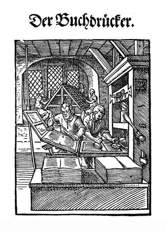 artisan: XVI century - printed books workshop with wooden press and movable types