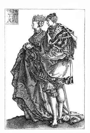 heinrich: German Renaissance , Heinrich Aldegrever (1502-1555) Marriage Dancers engraving Stock Photo