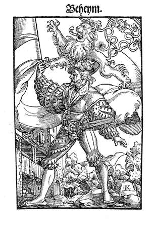 rampant: Year 1540,  standard bearer with the Bohemia kingdom flag