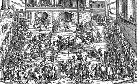 XVI century, tourney representation: knightly competition or mock fight in the Middle Ages and Renaissance