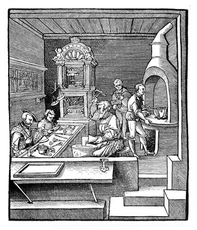 renaissance: Renaissance, goldsmith workshop and casting house Stock Photo
