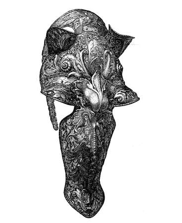 Renaissance, chanfron decorated embossed armor to protect the horse face
