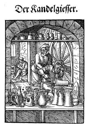 pewter: Art and craft, Renaissance workshop: the pewter jugs maker