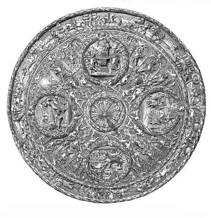 chiseled: Renaissance round shield, embossed and chiseled iron with mythological decorations Stock Photo