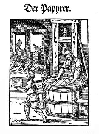tatter: Art and craft, Renaissance workshop: the paper maker by Jost Amman (1539-1591) Stock Photo