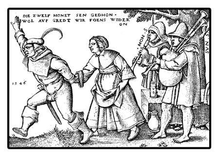 siervo: Año 1546, Campesinos celebrar un festival de baile y jugando Varios festival se llevó a cabo durante el año relacionados con la religión y la naturaleza.
