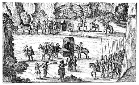 2nd century: September 2nd, 1552: the Emperor Charles V  sits in a palanquin carrried by mules. In the background the Electors coach. Reproduced in late XIX century from an original woodcut by an unknown master of XVI century.
