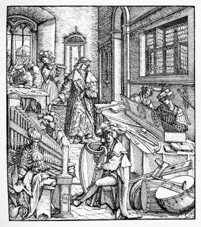 rather: The late (1893) reproduction of an original woodcut by Hans Burgkmair (1473-1531) depicting the cultivation of music in a rather improbable but fascinating form.