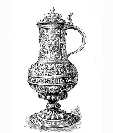 finely: Finely embossed copper mug from 1595 bearing the owners name, Bartholomaeus von Rosenberg, around the neck and two righteous German sayings around the belly and on the base.
