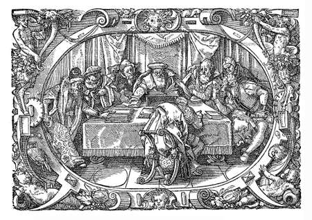 Magistrates sitting in the court. Cover picture of Petri a bella pertica, ivrisconsvlti vetvstissimi, ac svbtilissimi Commentaria ad librvm pandectarvm qvadragesimvm tertivm (sic from the illustration caption: the reader will remember did most of the La