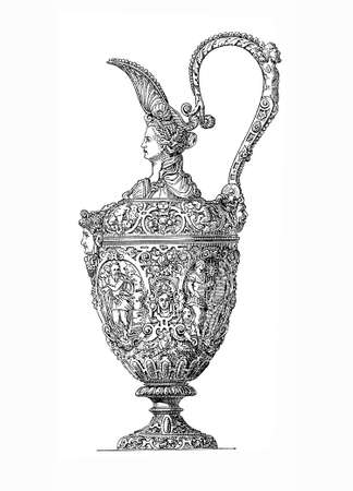 finely: Silver jug ??from year 1630, Partially gold-plated, finely embossed. Together with a similarly decorated bowl (not shown) it what part of a finger bowl set to be used after dining. Stock Photo
