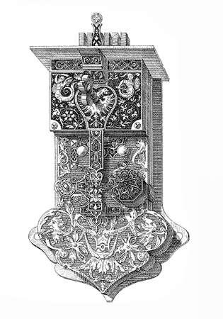 llegar tarde: cerradura de la puerta masiva grabada con motivos florales. fecha exacta desconocida, probablemente a finales del siglo XVI. Al tamaño de la clave y el mando se puede inferir que estaba destinado para un algo enorme y robusta puerta.