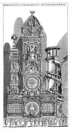 predecessor: The Astronomical clock inside Notre Dame de Strasbourg, designed by the Swiss brothers Isaac and Josias Habrecht which completed in 1574 to Replaced its predecessor built in 1354. Highly complex and richly decorated, it kept showing time, lunar phases and Stock Photo
