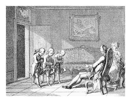 18th: Prussian education in XVIII century: boys at home bow to the parents dressed like miniature adults